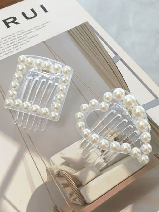 Chimera Cellulose Acetate Love heart-shaped square pearl Jaw Hair Claw 3