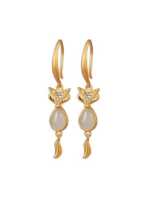 DEER 925 Sterling Silver Jade Fox Cute Hook Earring 0