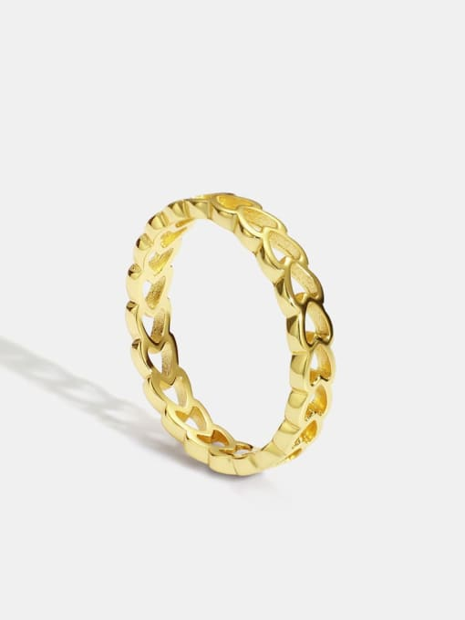 CHARME Brass Hollow Heart Minimalist Band Ring