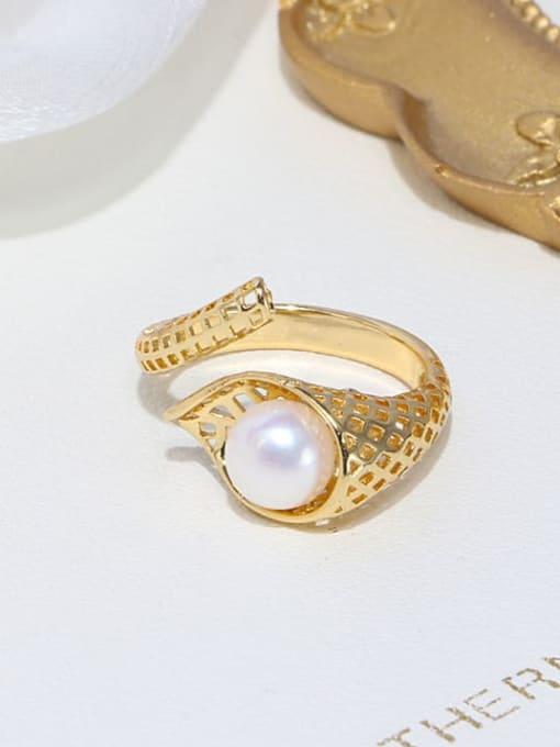 RAIN Brass Freshwater Pearl Irregular Vintage Band Ring 3