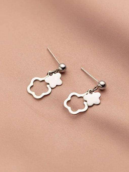 Rosh 925 Sterling Silver Flower Minimalist Drop Earring 1