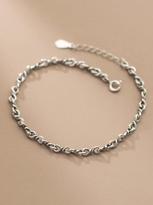 Rosh 925 Sterling Silver Geometric Vintage Link Bracelet