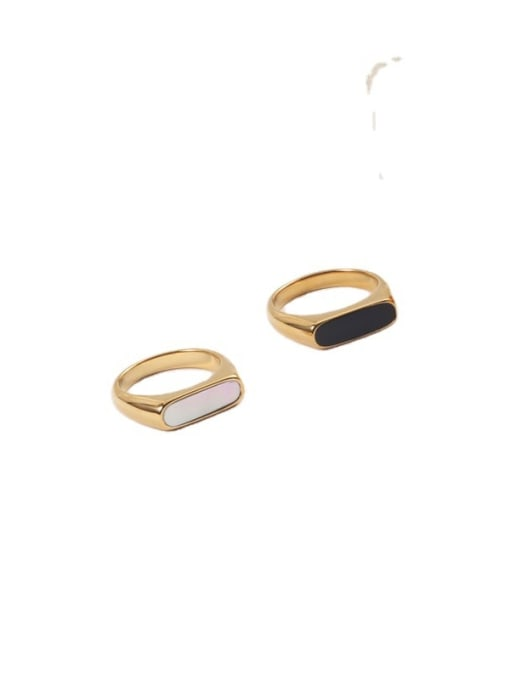 GROSE Stainless steel Shell Geometric Minimalist Band Ring 0