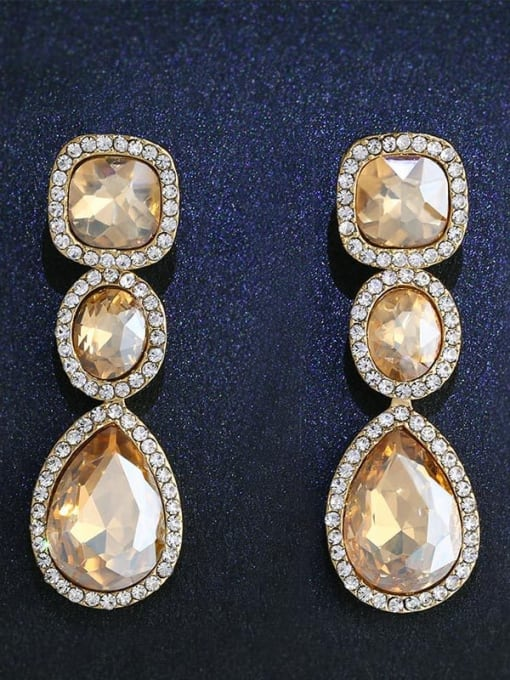CC Alloy Glass Stone Water Drop Bohemia Cluster Earring 0