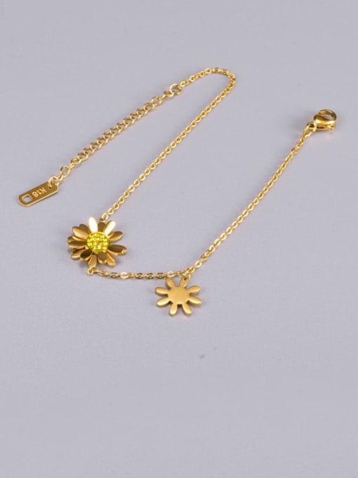 A TEEM Titanium Steel Flower Minimalist Link Bracelet 1