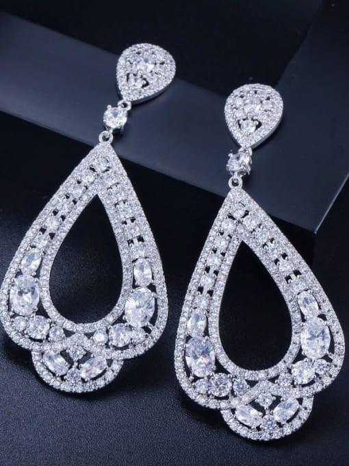 Platinum White Brass Cubic Zirconia Water Drop Luxury Drop Earring