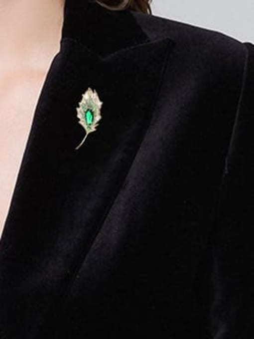 Luxu Brass Cubic Zirconia Leaf Statement Brooch 1