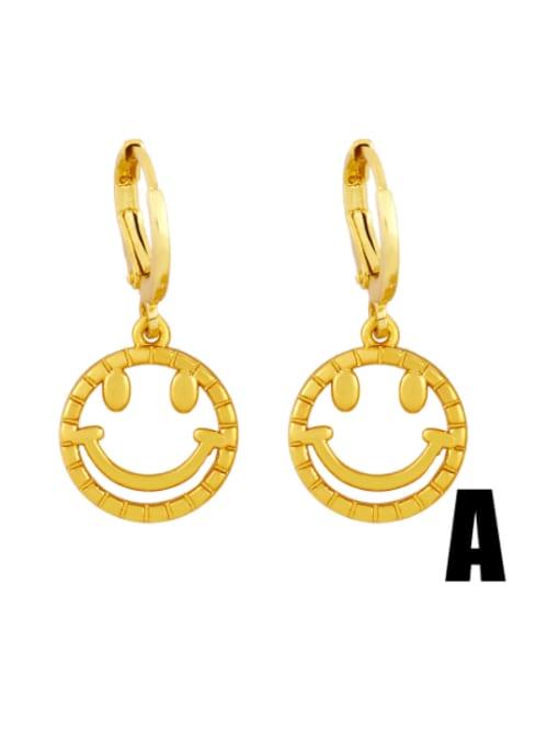 A Brass Rhinestone Smiley Hip Hop Huggie Earring