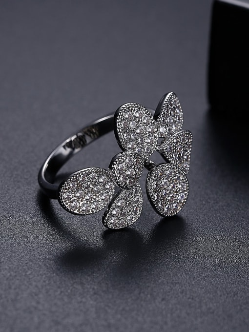 BLING SU Copper Cubic Zirconia Flower Luxury Band Ring 2