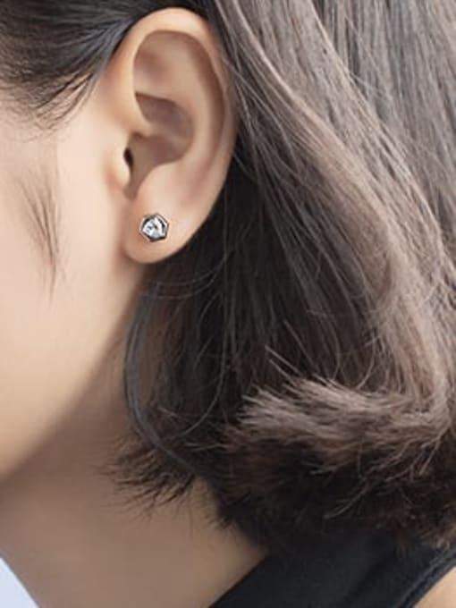 Rosh 925 Sterling Silver Cubic Zirconia  Hexagon Minimalist Stud Earring 1