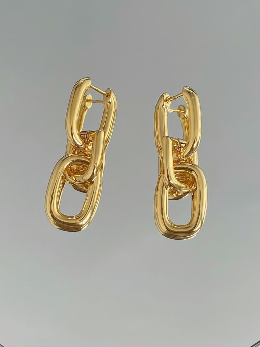 LI MUMU Brass Hollow Geometric Vintage Drop Earring