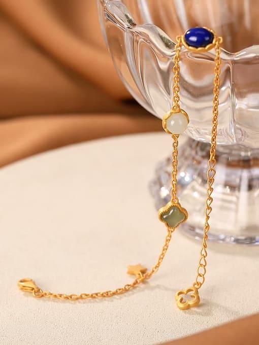 DEER 925 Sterling Silver Jade Oval Vintage Link Bracelet 2