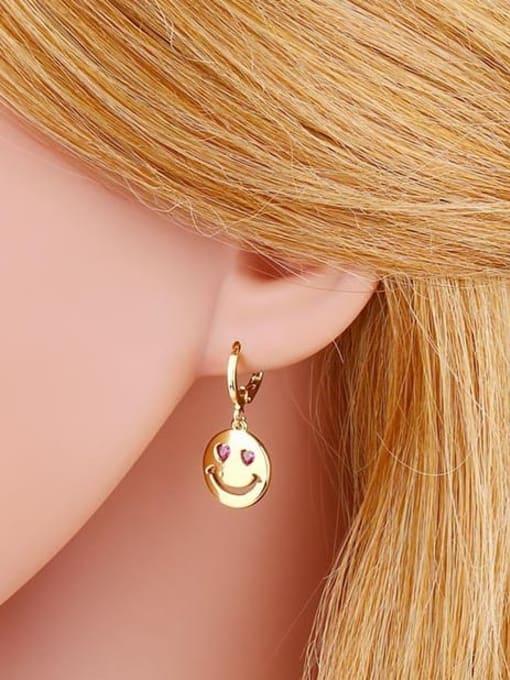 CC Brass Rhinestone Smiley Minimalist Huggie Earring 2