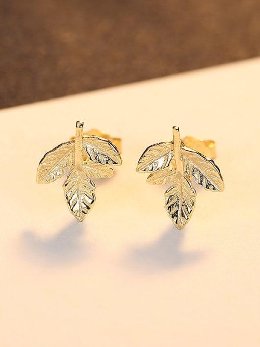 18K gold 23B09 925 Sterling Silver Leaf Minimalist Stud Earring