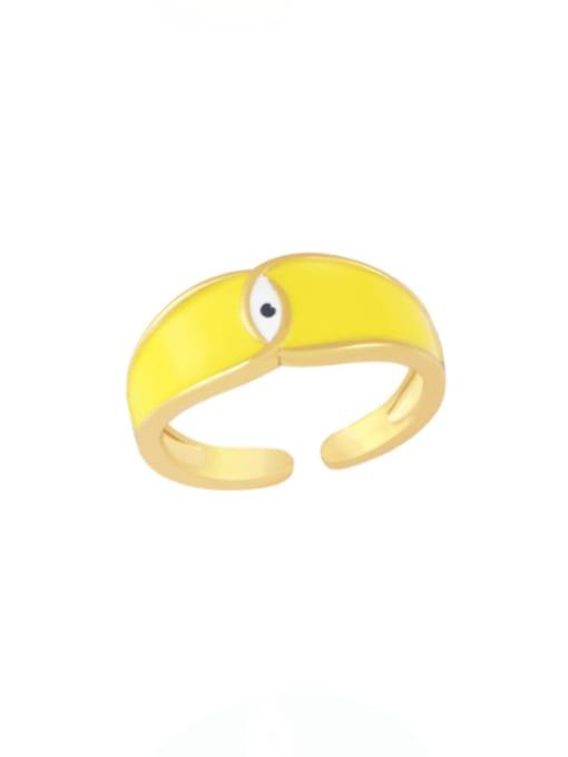 yellow Brass Enamel Evil Eye Minimalist Band Ring