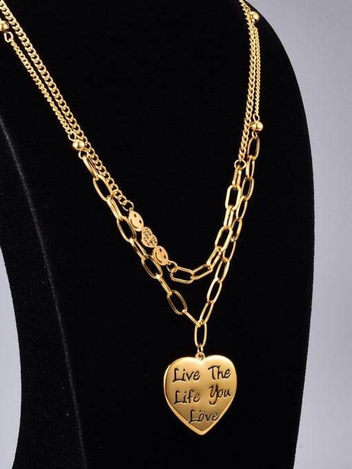 A TEEM Titanium Steel Heart Vintage Multi Strand Necklace 0