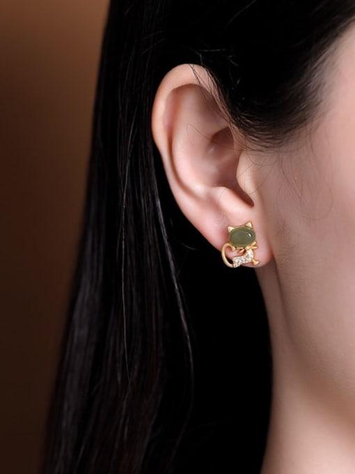 DEER 925 Sterling Silver Jade Cat Cute Stud Earring 1