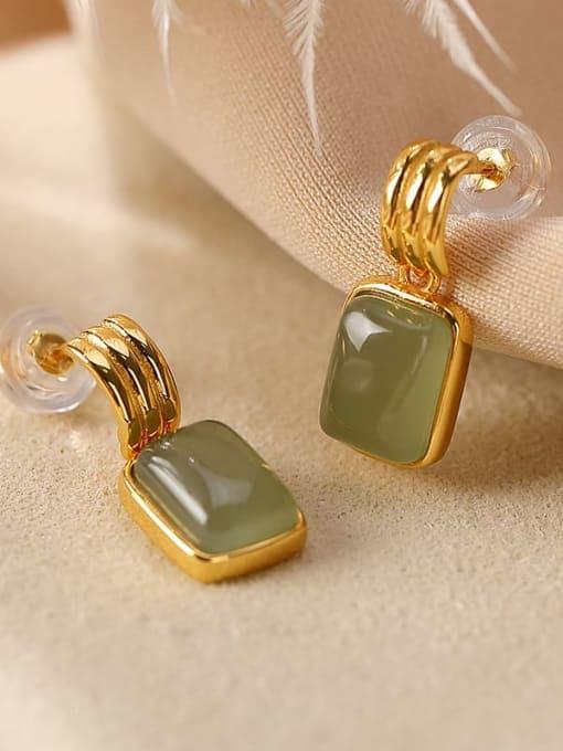 DEER 925 Sterling Silver Jade Geometric Vintage Drop Earring 1