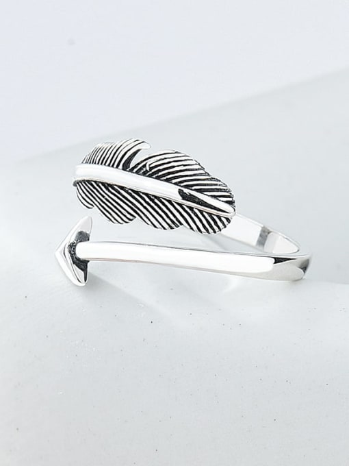 Bow and arrow retro ring 925 Sterling Silver Feather Vintage Band Ring