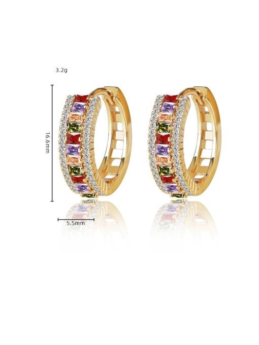 DUDU Brass Cubic Zirconia Geometric Luxury Huggie Earring 2