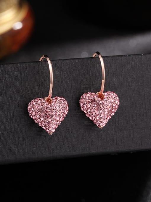 Luxu Brass Rhinestone Heart Dainty Hook Earring 3