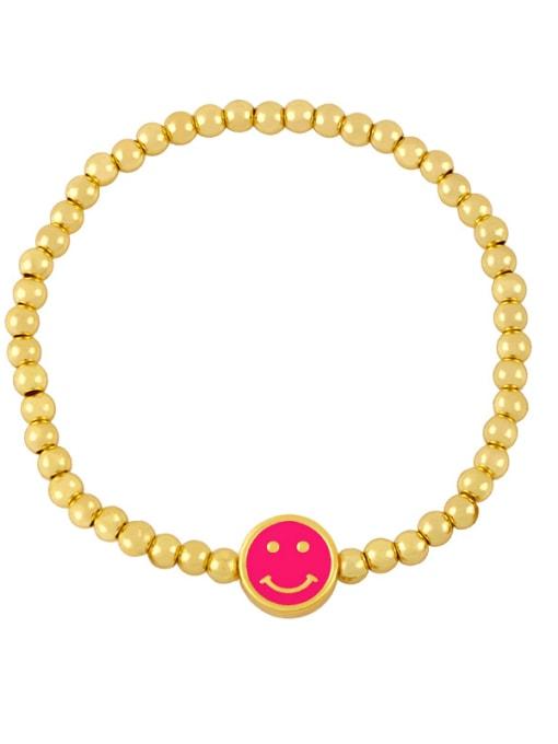 D (Rose) Brass Enamel Smiley Vintage Beaded Bracelet