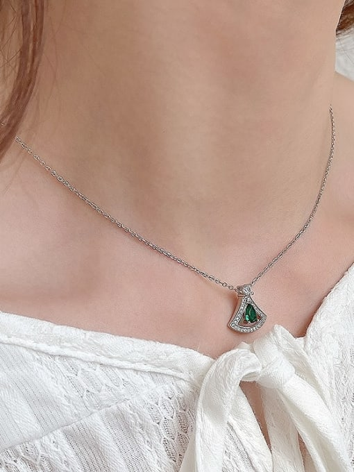 Boomer Cat 925 Sterling Silver Cubic Zirconia Triangle Minimalist Necklace 2