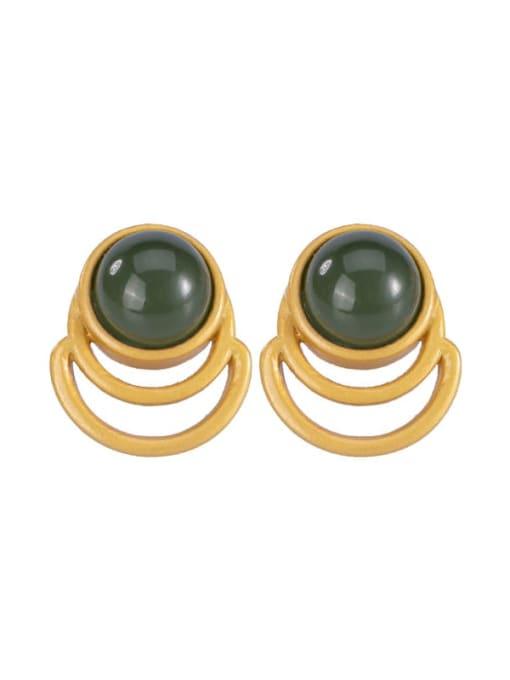 DEER 925 Sterling Silver Jade Geometric Vintage Stud Earring 4