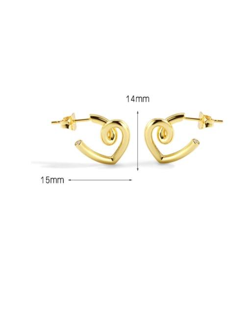 CHARME Brass Smooth Heart Minimalist Stud Earring 2