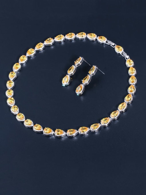yellow Brass Cubic Zirconia Luxury Water Drop  Earring and Necklace Set