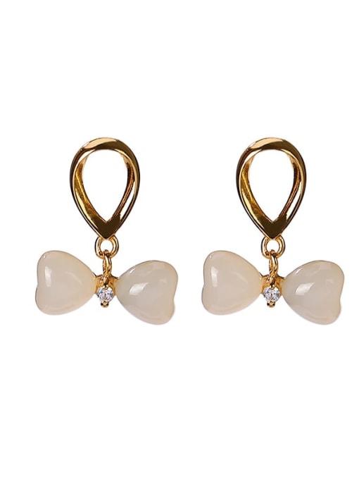 DEER 925 Sterling Silver Jade Bowknot Vintage Drop Earring 3