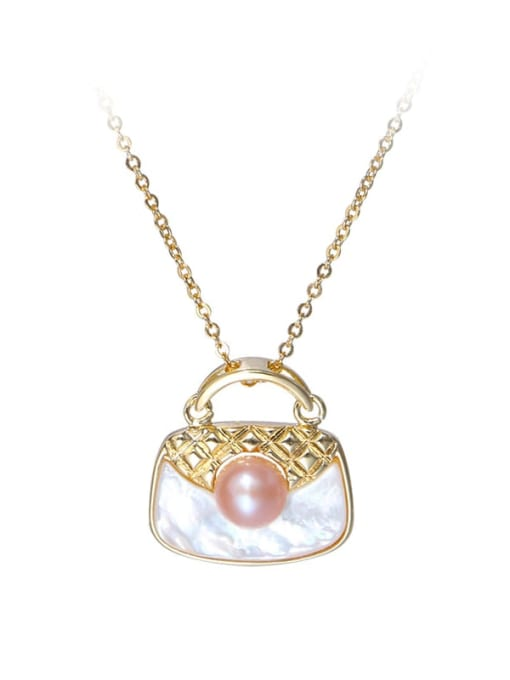 gold Brass Shell Square Bag Minimalist Pendant Necklace