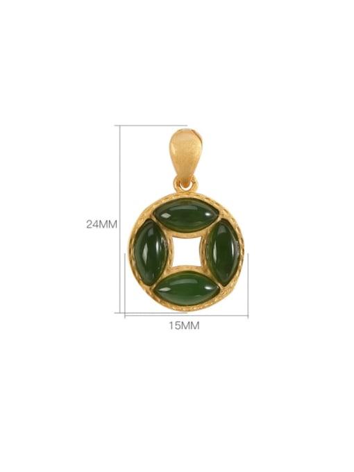 DEER 925 Sterling Silver Jade Vintage Geometric  Pendant 3