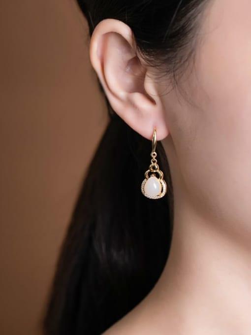 DEER 925 Sterling Silver Jade Irregular Vintage Hook Earring 1