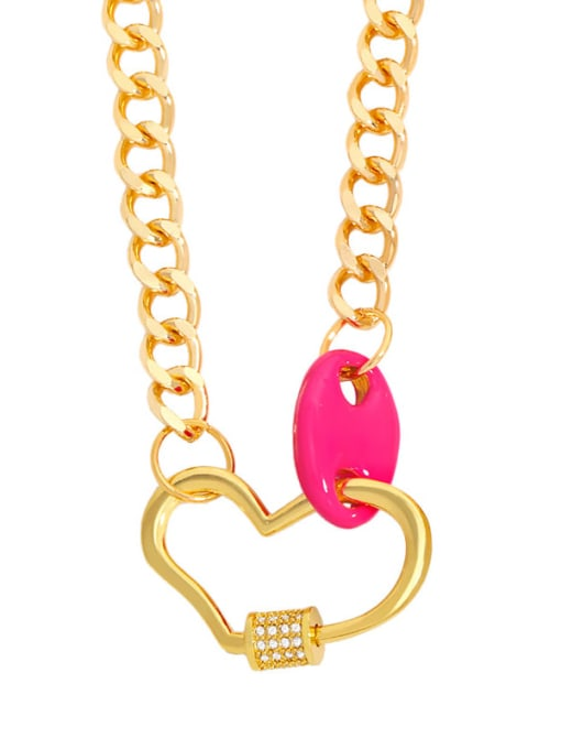Rose red Brass Enamel Heart Hip Hop Hollow Chain Necklace