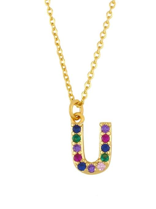 U Brass Cubic Zirconia Letter Vintage Necklace