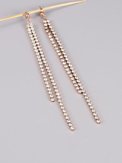 A TEEM Titanium Steel Cubic Zirconia Tassel Minimalist Drop Earring 1