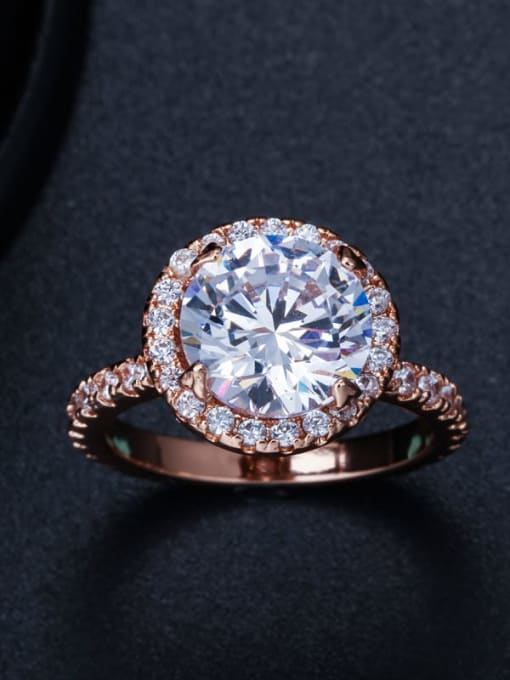 Rose Gold US 9 Brass Cubic Zirconia Round Luxury Band Ring