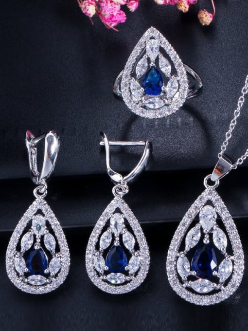 Royal Blue Ring Size 7 Drop Brass Cubic Zirconia Luxury Water  Earring and Necklace Set