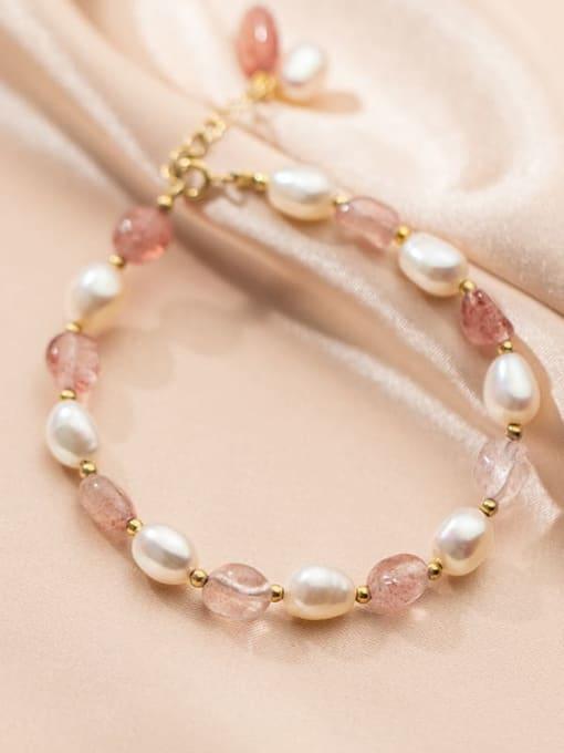 Rosh 925 Sterling Silver Freshwater Pearl Geometric Cute Stretch Bracelet 1