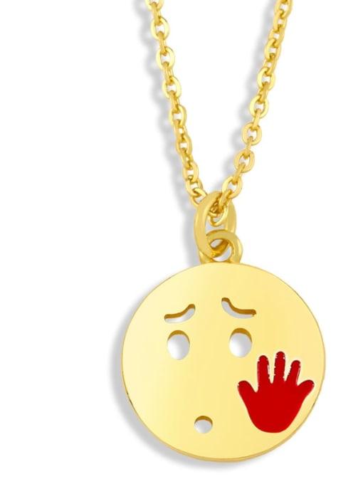 nku96 D Brass Enamel Geometric Hip Hop Necklace