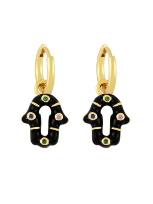 black Brass Enamel Geometric Vintage Huggie Earring