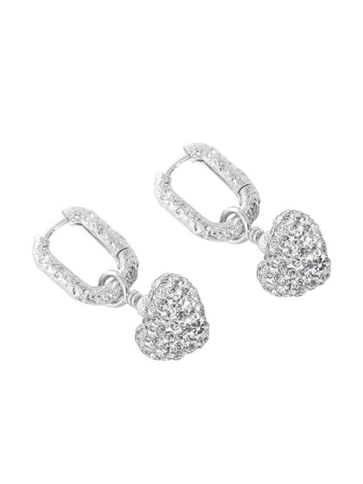 silvery 925 Sterling Silver Cubic Zirconia Heart Vintage Huggie Earring