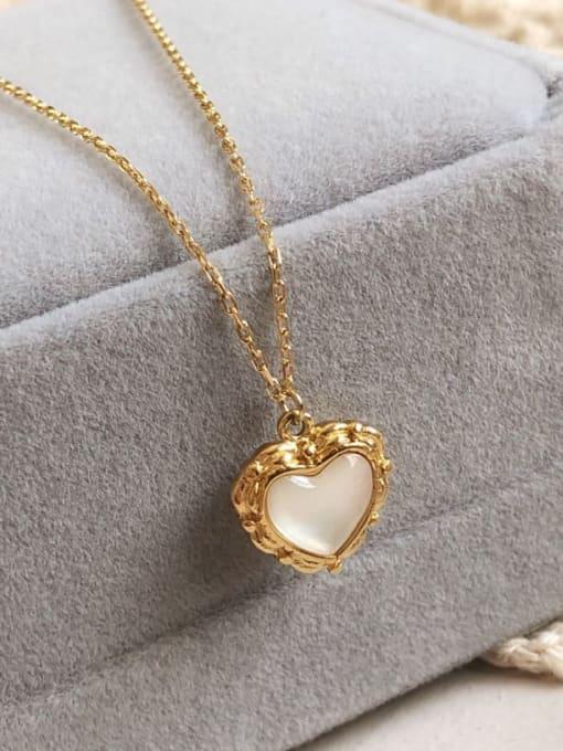 A TEEM Titanium Steel Cats Eye Heart Minimalist Necklace 1