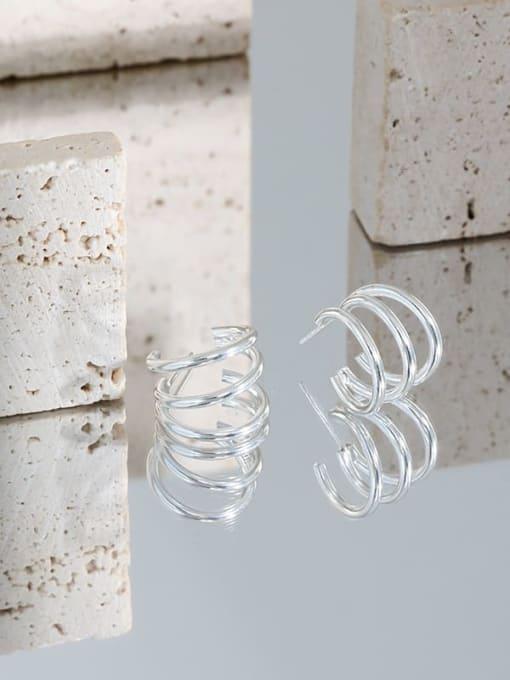 DAKA 925 Sterling Silver Smooth Geometric Minimalist Stud Earring 1