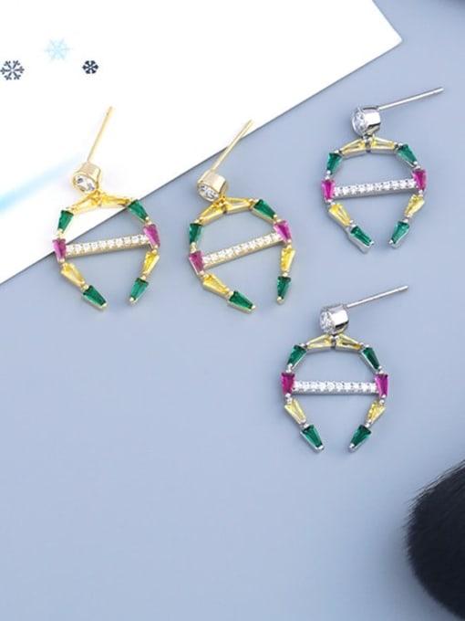 CC Brass Cubic Zirconia Geometric Statement Cluster Earring 4