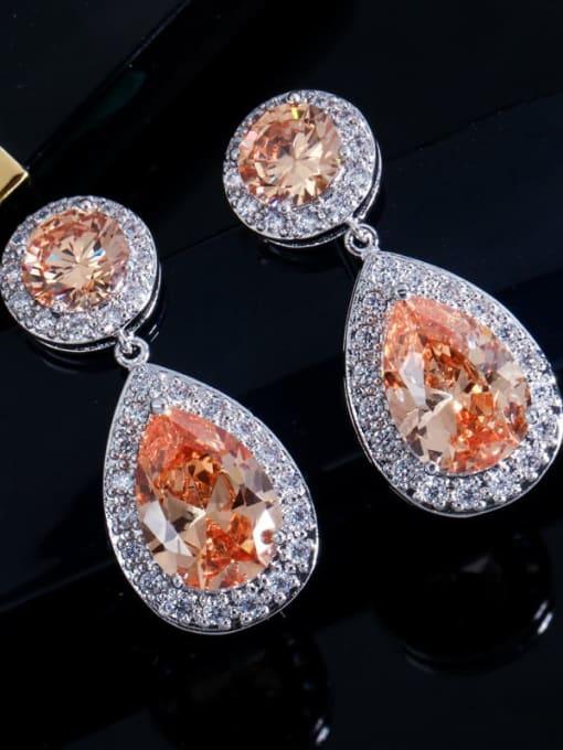 Champagne Brass Cubic Zirconia Water Drop Luxury Drop Earring