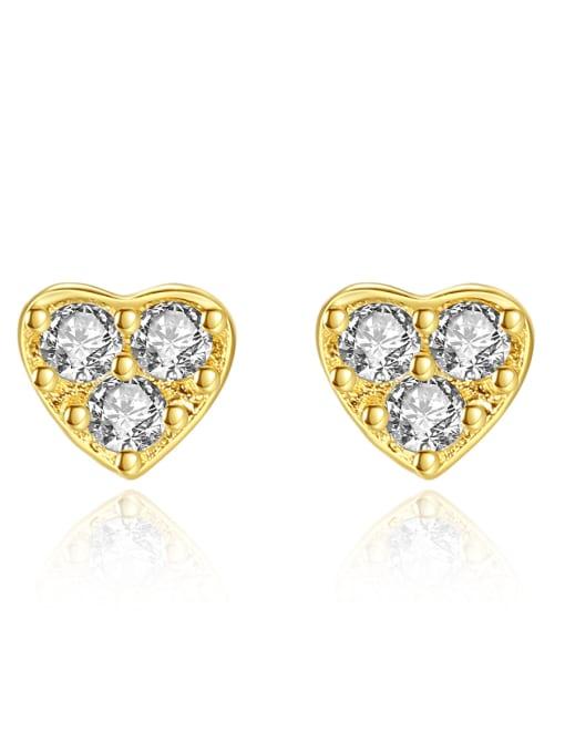 CCUI 925 Sterling Silver Cubic Zirconia Heart Minimalist Stud Earring
