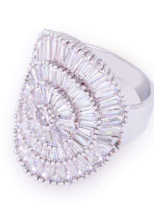 steel Brass Cubic Zirconia Geometric Luxury Band Ring