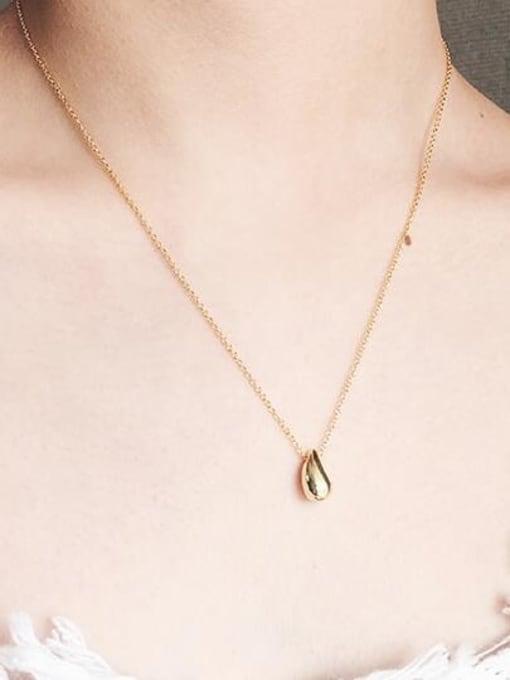 A TEEM Titanium Steel  Smooth Water Drop Minimalist Necklace 4